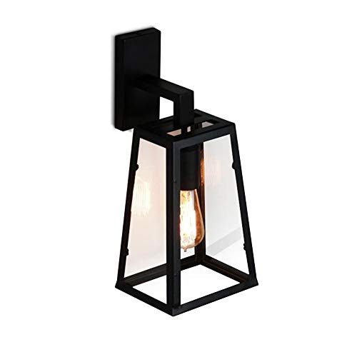 Dicai Retro Glass Lantern Outdoor Wall Light Waterproof Antirust Garden Wall Lamp Up and Down Design Wall Black Wrought Iron Art Decoration for Balcony Patio Stairs Corridor (Size : L)