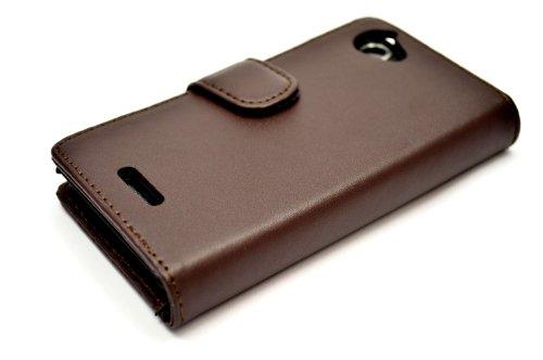 Snakehive® Sony Xperia L Funda de cuero laminado de tipo cartera, hecha con dos ranuras para tarjetas de crédito por Sony Xperia L (Marrón) Marrón