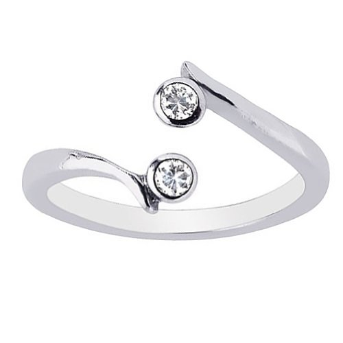 Ritastephens Sterling Silver 2 Cubic Zirconia Crossover Toe Ring Body Art -