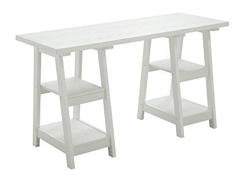Double Trestle - Convenience Concepts 090207W Double Trestle Wooden Desk, White