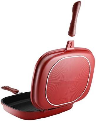 Rouku Poêle à Frire Double Face antiadhésive Barbecue Outil de Cuisson Stable Durable et fiable Batterie de Cuisine adapté pour la Maison en Plein air