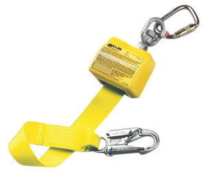 Miller Retractable Lanyard - Honeywell 8327/10FTYL Miller by 10' Polyester Web Retractable Lanyard with Swivel and Carabiner at Anchorage End, 3/4 Locking Snap Hook On Lanyard End, Plastic, 1
