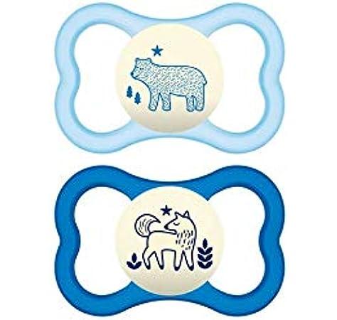 MAM – Conjunto de 2 chupetes Air noche de silicona en caja esterilización 18 + Meses – Color/Modelo surtido: Amazon.es: Bebé