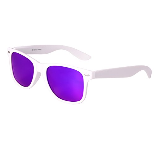 Nerd Sunglasses Matt Rubber Style Retro Vintage Unisex Glasses Spring Hinge Black - 24 Different Models (White-Purple, - Bans White Ray