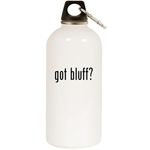 Molandra Products got Bluff? - White 20oz Stainless Steel Water Bottle with Carabiner