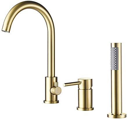 温水と冷水を備えたバスルームシンクの蛇口真鍮デッキが取り付けられたバスルームシンクミキサータップシングルハンドル3穴流域の蛇口ハンドヘルドシャワー,クロム