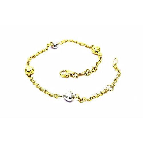 be567ecaa5eb Delicado Pegaso Joyería – Pulsera oro amarillo y blanco 18 kt Corazones –  Corazones Bicolor niña
