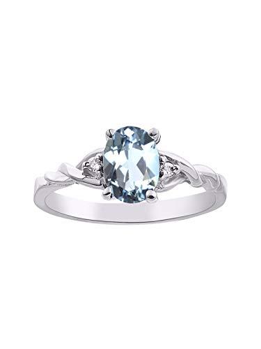(Diamond & Aquamarine Ring set in Sterling Silver)