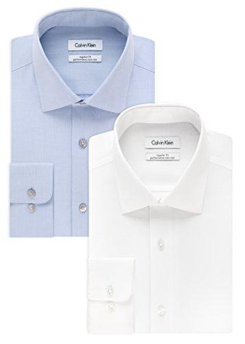 Calvin Klein Men's Regular Fit Non Iron Herringbone Spread Collar Dress Shirt, White/Blue, 15.5'' Neck 32''-33'' Sleeve by Calvin Klein