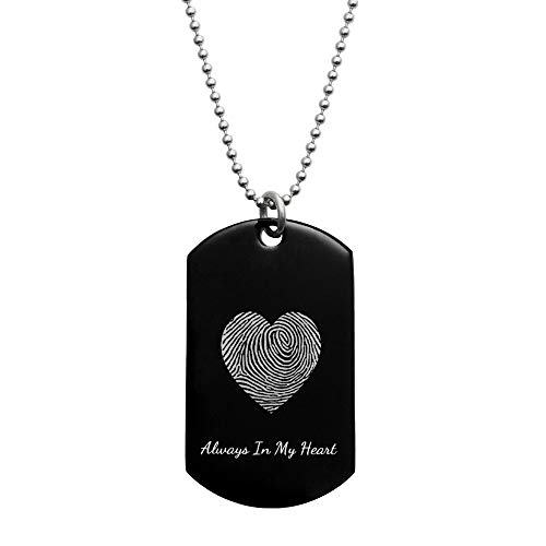 Queenberry Stainless Steel Personalized Fingerprint + Back Side Text Engraving Custom Dog Tag W/Dot Ball Chain Necklace 24'' - Handmade