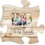 (Together is My Favorite Place to Be 4x6 Photo 12 x 12 inch Wood Puzzle Piece Wall Frame)