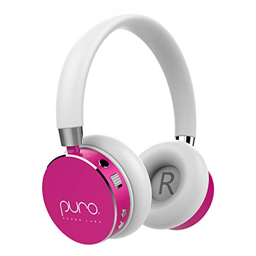 Puro Sound Labs BT2200 Volume Limited Kids Bluetooth Headphones - Safer Headphones for Kids - Lightweight & Durable - Studio-Grade Audio Quality & Noise Isolation -Carrying Case (Pink)