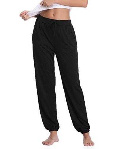 (Aibrou Pajama Pants for Womens Cotton Stretch Knit Lounge Pants Bottoms (Black,)