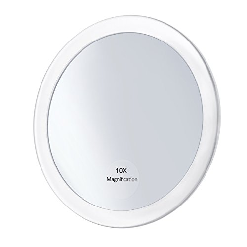Frcolor 10X Magnifying Mirror with 3 Suction Cups, Cosmetic Make Up Mirror Folding Pocket Mirror 5.9 Inch White