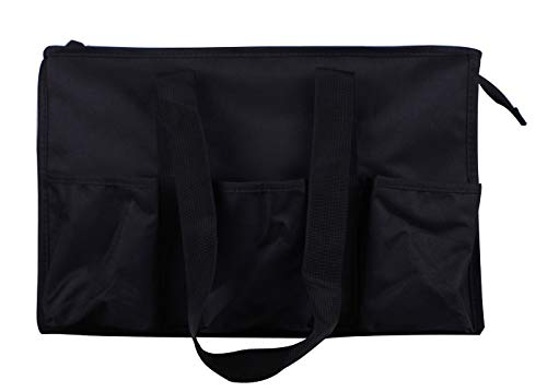 (NT19 April fashions university solid zip top multi function Utility bag, Diaper bag, all purpose Organizer grocery tote bag. (NT19-Black))