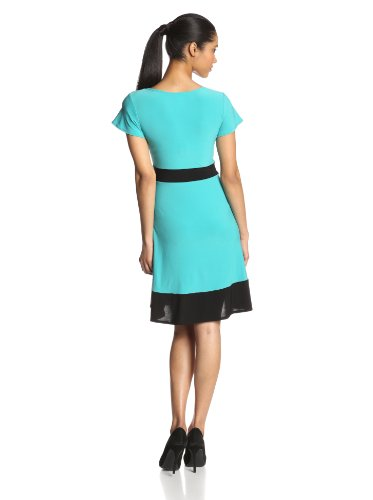 Star Vixen Women's Colorblock Short Sleeve Skater Dress