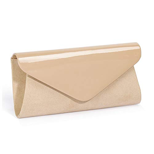 Patent Leather Clutch Classic Purse Wallet,WALLYN'S Evening Bag Handbag With Flannelette Khaki