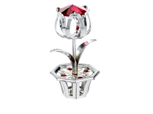 (Chrome Plated Little Flower in Vase Free Standing w/Red Swarovski Element Crystal)