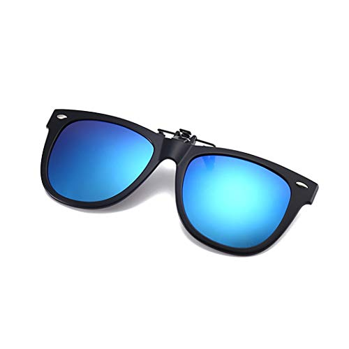 Clip-on Sunglasses with TR 90 Frame Polarized Mirrored Lens – Anti-glare UV 400 Sunglasses Clip on Prescription Eyeglass Driving Fishing (Blue Mirrored Lens ()