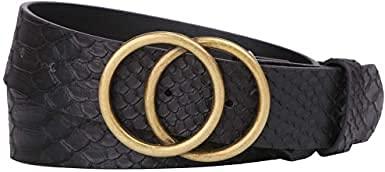 Women's PU Leather Belt Double O Ring Soft Faux Leather Waist Belt (Black)
