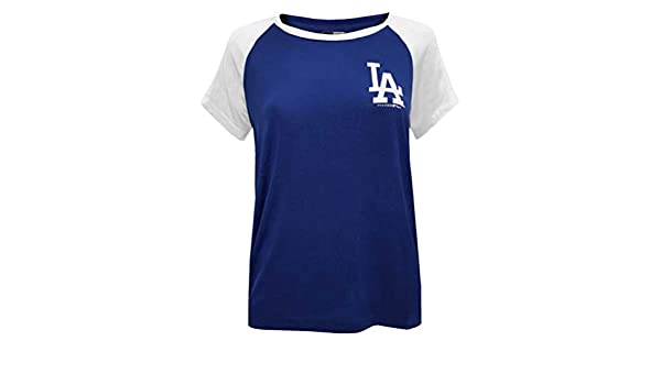 2488ffef New Era Womens MLB Los Angeles Dodgers Scoop Neck Two-Tone T-Shirt Tee  78070L at Amazon Women's Clothing store: