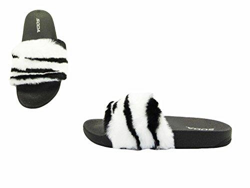 Soda Kvinners Fuzzy Flatform Tøffel Uformell Bad Utendørs Furry Creeper Sandal Hvit Sebra