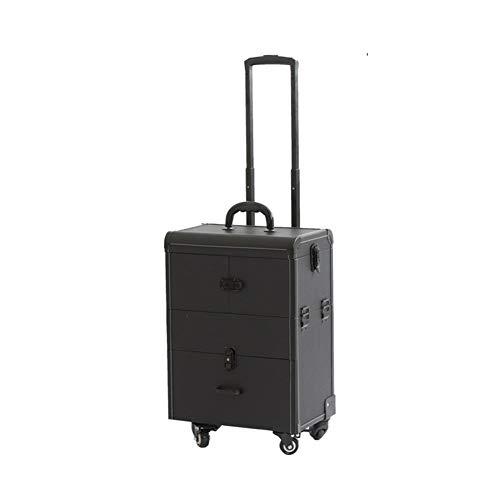 WLIXZ Estuche cosmético Tipo Trolley, Kit de Maquillaje Profesional de múltiples Capas, Caja de Herramientas portátil para...