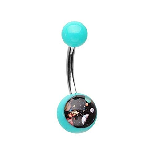 (Covet Jewelry Galaxy Gaze Acrylic Logo Belly Button Ring 14GA)