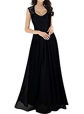 Miusol Women's Casual Deep- V Neck Sleeveless Vintage Maxi