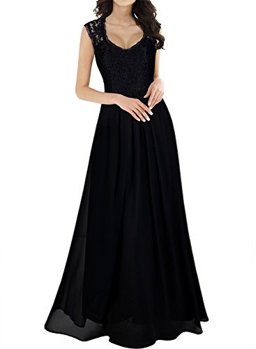 (Miusol Women's Casual Deep- V Neck Sleeveless Vintage Maxi Black Dress)