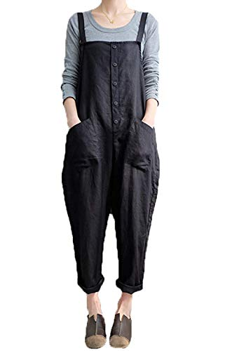 Harem Costumes Images - Women's Baggy Wide Leg Overalls Cotton