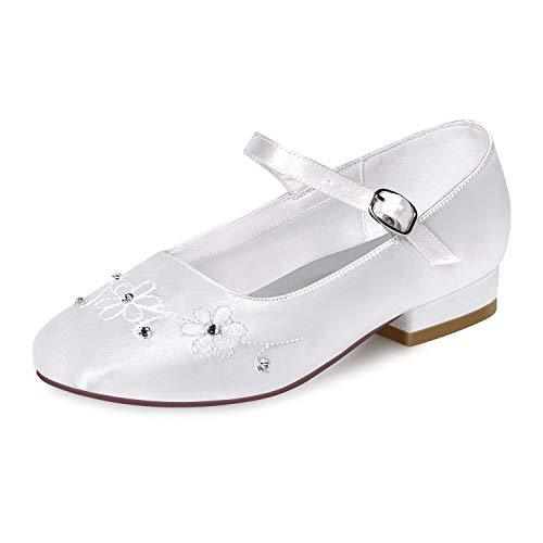 ERIJUNOR E1323A White Communion Shoes Comfortable Flower Girls Dressy Shoes Dyeable Satin Size 3