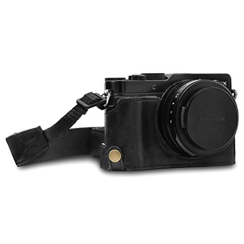 MegaGear MG1563 Ever Ready Genuine Leather Camera Half Case Compatible with Panasonic Lumix DC-LX100 II - Black (Best Case For Lx100)