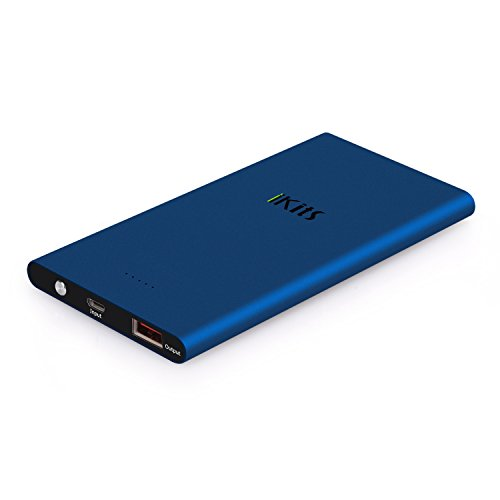 Portable Charger, iKits 5000mAh Ultra Compact Portable Power Bank External Battery Pack Input: 5V 2A, Output:2.4A with Smart IC Technology for iPhone / iPad & Samsung Google Nexus & more Blue
