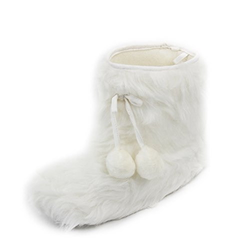 Gohom White Fuzzy House Shoes for Women