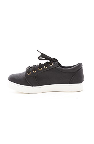 Soho Shoes Womens Flatform Casual Lace Up Platform Low Top Sneakers Black