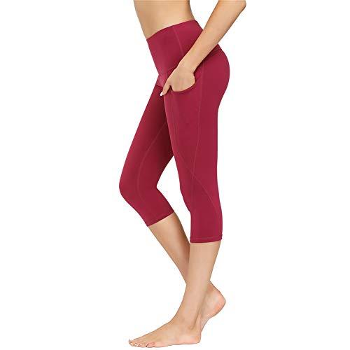 Damen Sport Leggins Hohe Taille Tights 3/4 Yogahose Blickdichte Kurz Laufhos Fitness Hosen Jogginghose mit Taschen Short