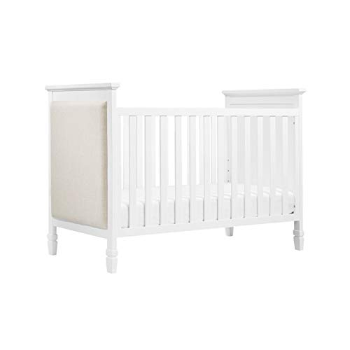 Davinci Lila 3 in 1 Upholstered Convertible Crib, White with Oatmeal Fabric ()