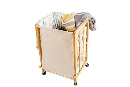 Laundry Hamper Sorter Cart Clothes Basket Storage with Wheels and Cover Bamboo Design by Bamfan (Image #1)