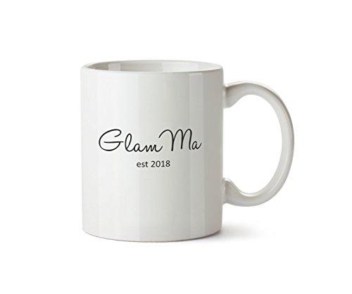Glam Ma Est. 2018 Mug Cute Grandma New Baby Shower Gift Ceramic Coffee Tea (Baby Shower Coffee)