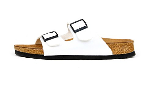 Dilize Women's Summer Footwear 2-Strap Buckled Cork Sandals White s24Zzk