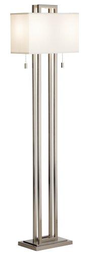 Possini Euro Design Double Tier Brushed Nickel Floor (Brushed Nickel Contemporary Floor Steel)