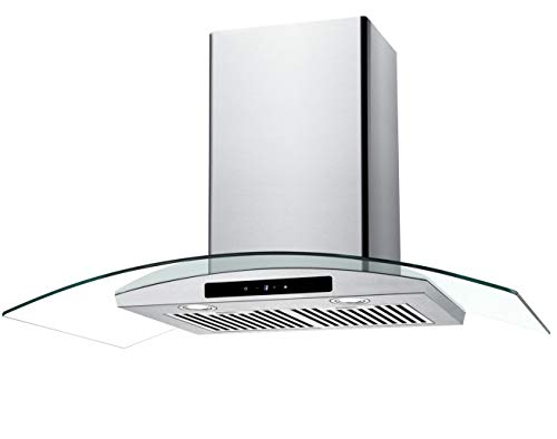 CIARRA 36″ Convertible Range Hood 450-CFM Ducted/Ductless with LED Lighting,Touch Control Panel,3 Venting Speeds,Reusable Filters,Stainless Steel & Tempered Glass Kitchen Cooking Fan Extractor Hoods