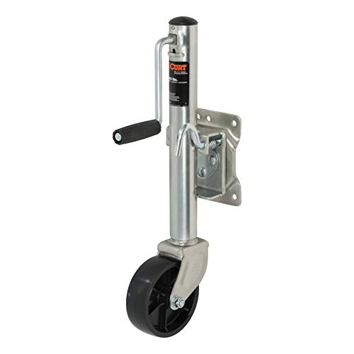 (CURT 28112 Marine Boat Trailer Jack with 6-Inch Wheel 1,200 lbs, 11 Inches Vertical Travel)