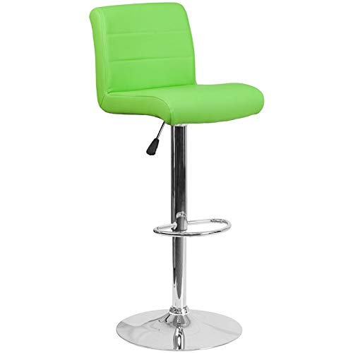 Flash Furniture Contemporary Green Vinyl Adjustable Height Barstool with Chrome Base ()