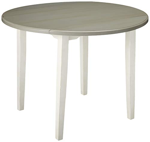 Hillsdale Furniture 4542-810 Hillsdale Clarion Round Drop Leaf, Distressed Gray/Sea White Dining Table,