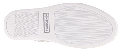 Skechers Womens Vaso - Stampa Serpente Metallizzato Twin Gore Slip-on Bianco / Argento