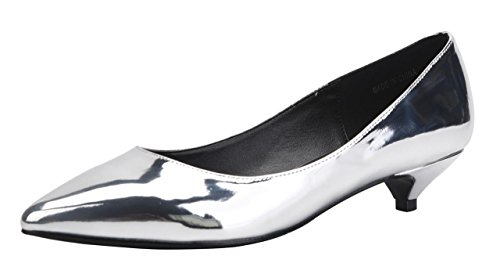 CAMSSOO Women's Comfor Classic Slip On Pointed Toe Dress Shoes Low Heel Pump Wedding Shoe Silver Patent PU Size US7.5 EU39 by CAMSSOO