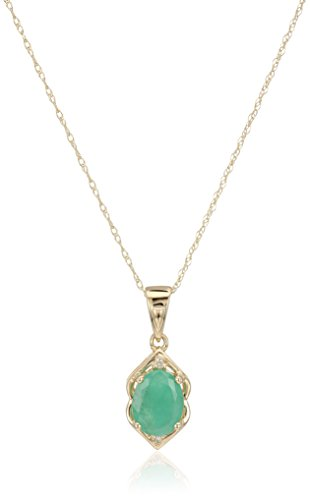 10k Yellow Gold Genuine Emerald and Diamond Accented Pendant Necklace, 18