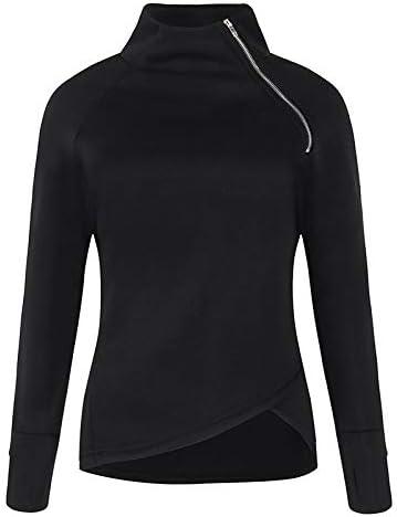 Doublelift Women Casual Solid Blouse England Style Long Sleeve Pullover Turtleneck Zipper Sporty Sweatshirt Tops Blouse